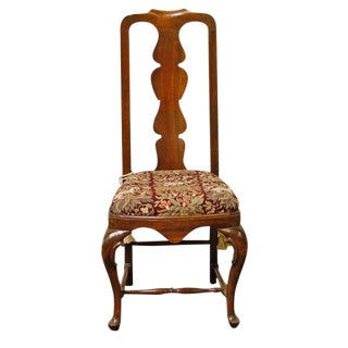 1990s Queen-Anne Style Fiddleback Mahogany Side Chair For Sale