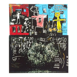 "Jean Michel Basquait Estate Pop Art Lithograph Fine Art Print "" Black Tar & Feathers "" 1982 For Sale"