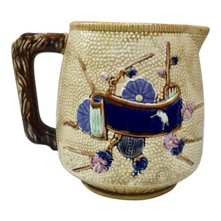 1880s Large English Majolica Japonese Style Pitcher For Sale