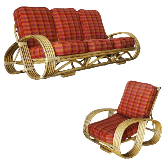 "Restored Rare Five-Strand ""Reverse Pretzel"" Rattan Living Room Set For Sale"