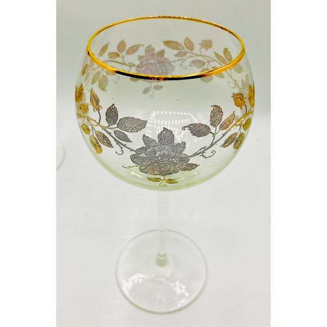 Early 20th Century Antique French Baccarat Gold Encrusted Needle Etch Crystal Hock Glasses- Set of 6 For Sale In New York - Image 6 of 13