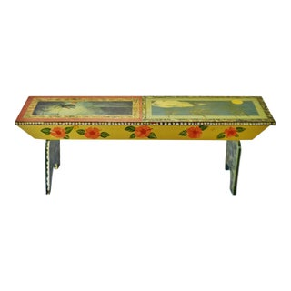 Vintage Peter Hunt Style Folk Art Hand Painted Bench For Sale