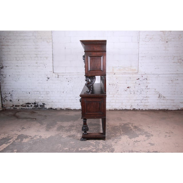 19th Century French Black Forest Carved Walnut Sideboard or Bar Cabinet For Sale - Image 12 of 13