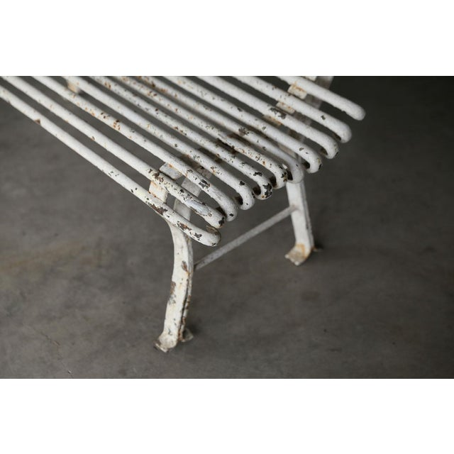 Antique White French Iron Bench For Sale - Image 8 of 10