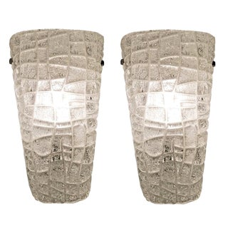 1960s Murano Wall Lights With Textured Glass, Italy - a Pair For Sale