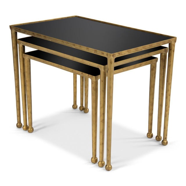 Traditional Trio Of Gilt Metal Nesting Tables - Set of 3 For Sale - Image 3 of 8