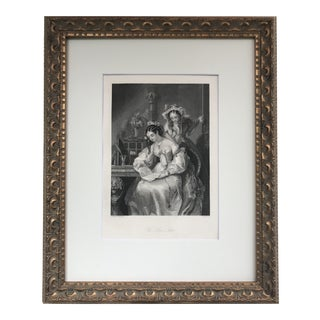 """Antique 19th Century Engraving """"The Love Letter"""" For Sale"""