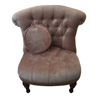 Hollywood Regency Fengheng Furniture Co. Tufted Lounge Chair For Sale