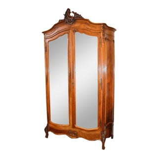 Louis XV Style Mirrored Walnut Armoire with Hand-Carved Details