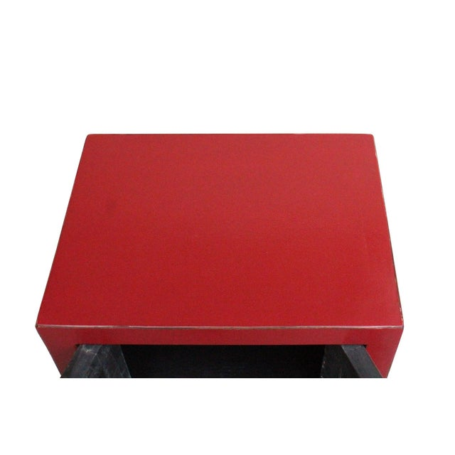 2010s Chinese Red Lacquer Moonface End Table Nightstand For Sale - Image 5 of 8