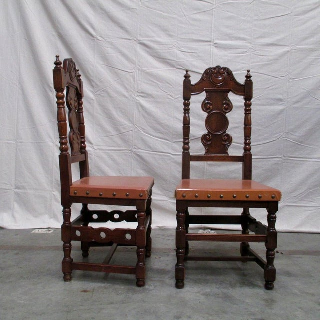 Handsome set of Spanish antique carved dining chairs. Made of solid oak,  all original - Antique Spanish Carved Dining Chairs - Set Of 4 Chairish
