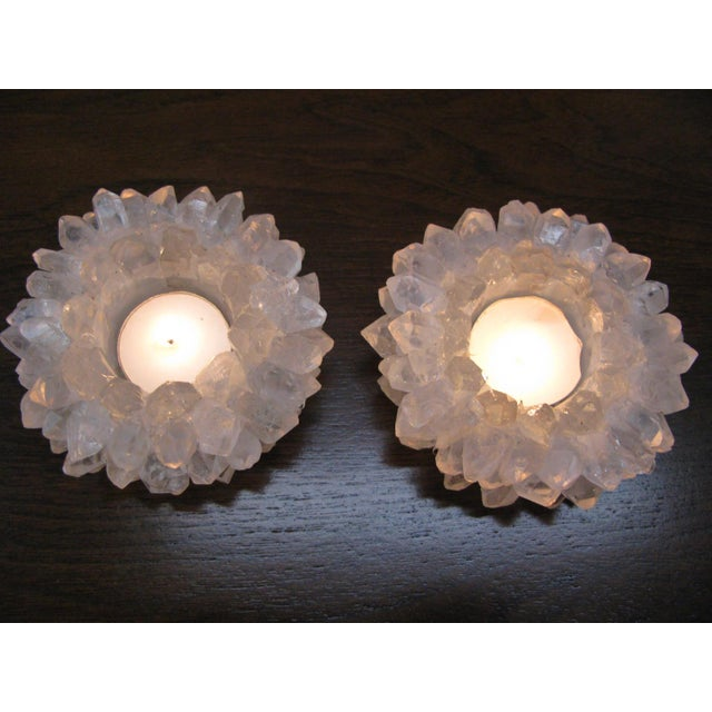 Clear Quartz Candle Holders - A Pair - Image 8 of 11