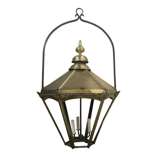 1950s English Brass Lantern For Sale
