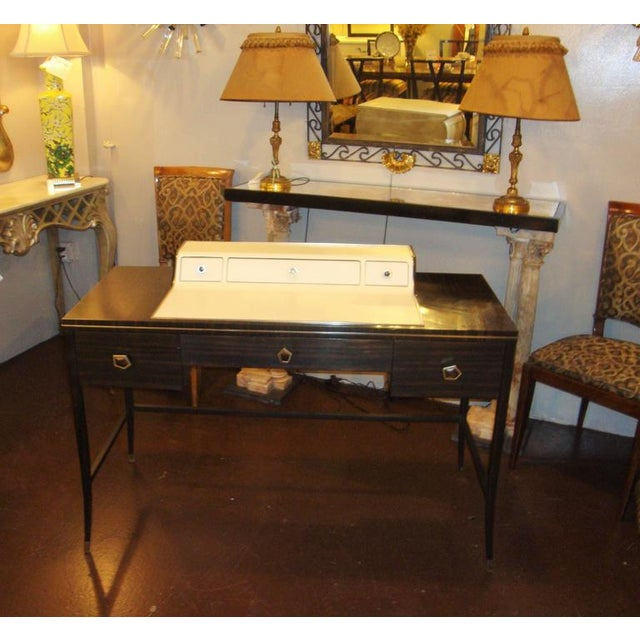 Hollywood Regency Jonathan Charles Leather And Macassar Writing Desk Or Vanity For