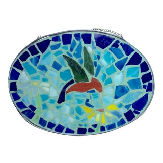 Hummingbird Glass Mosaic Placque For Sale