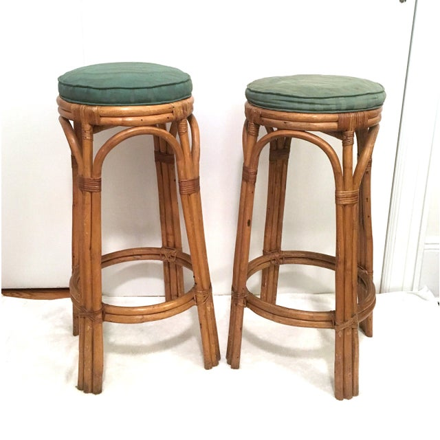 Rattan Vintage Rattan Stools or Plant Stands - a Pair For Sale - Image 7 of 7