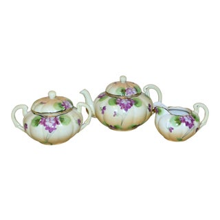 Nippon Floral & Bow Tea Set - Three Pieces For Sale