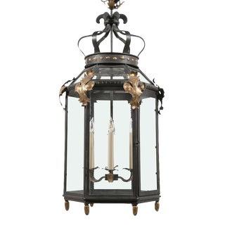 Hexagonal Iron & Gilded 6 Light Lantern For Sale