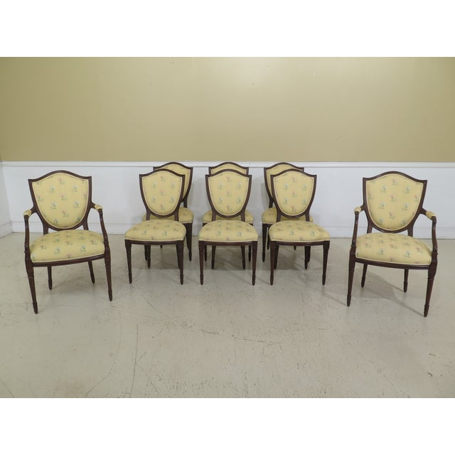 Shield Back Style Upholstered Dining Room Chairs- Set of 8 For Sale - Image 13 of 13