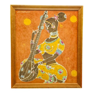 1960s Vintage Indian Woman With Sitar Silkscreen Print For Sale