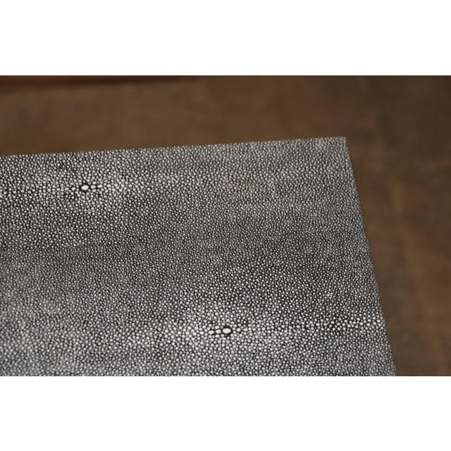 2000 - 2009 Faux Shagreen and Metal Coffee Table For Sale - Image 5 of 10
