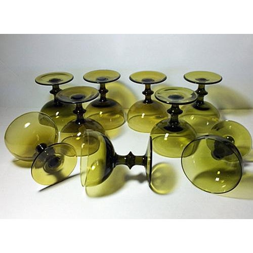 Italian 1960s Carlo Moretti Style Green Champagne Coupes - Set of 9 For Sale - Image 3 of 4