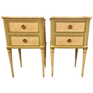 Pair of Louis XVI Style Paint Decorated Marble Top End Tables or Nightstands For Sale