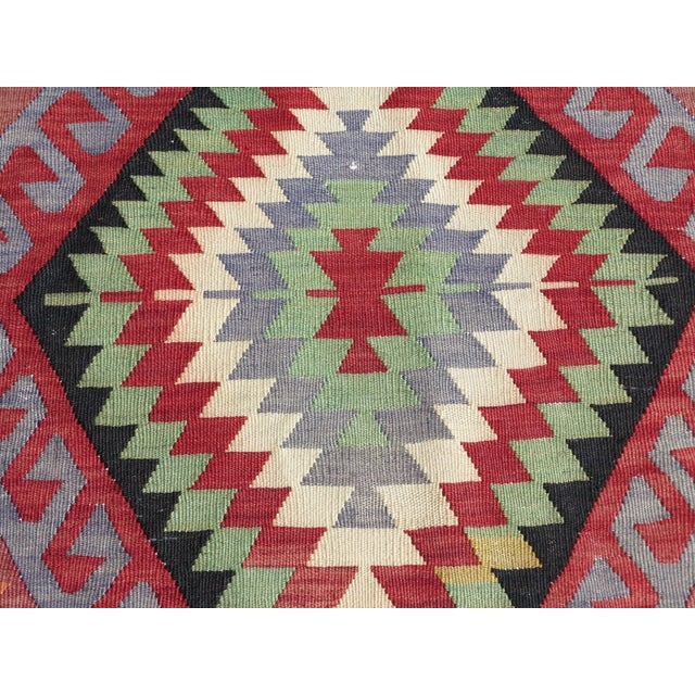 "Vintage Handwoven Turkish Kilim Rug - 6'4"" x 9'6"" - Image 6 of 8"