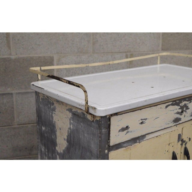 Antique Industrial Steel Metal Enamel Top Medical Cabinet For Sale In Philadelphia - Image 6 of 13