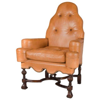 Queen Anne Style Library Reading Chair