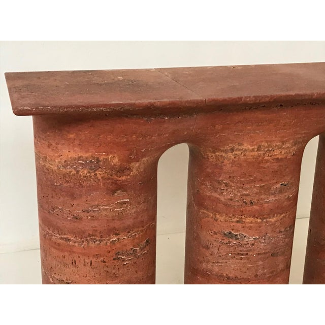 Italian 1970s Italian Red Travertine Console For Sale - Image 3 of 7