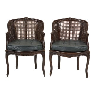 Early 20th Century Louis XV Style Beechwood and Cane Paneled Bergeres- a Pair For Sale