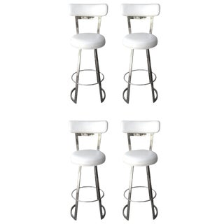 "Four ""Mathis"" Barstools by Charles Hollis Jones in Polished Chrome For Sale"
