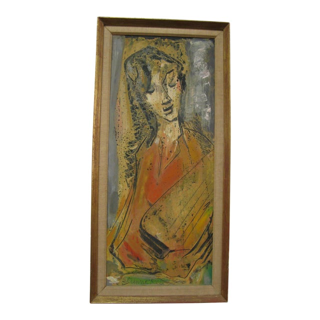 Etienne Ret Cubist Portrait Oil Painting - Image 1 of 7