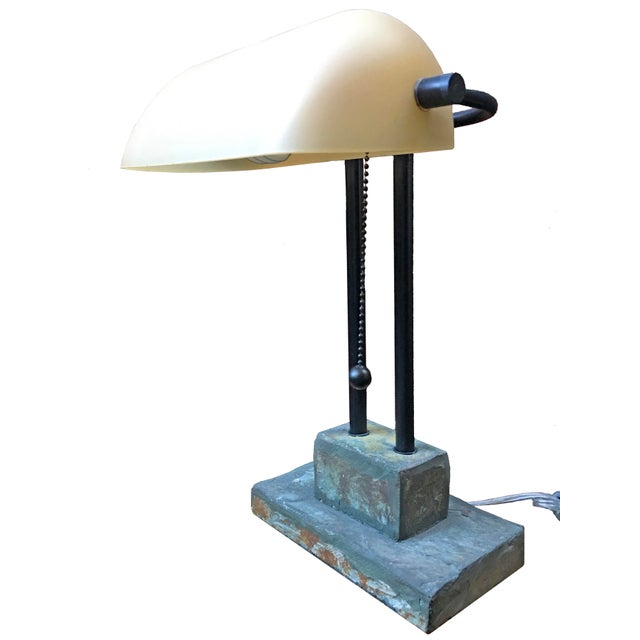 Antique Style Banker's Desk Lamp With Slate Base - Image 1 of 6