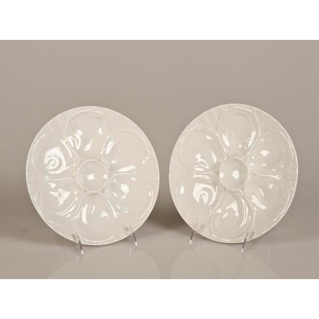 "A set of two oyster plates of glazed earthenware from France c.1900. Please notice the makers stamp ""Pillivuyt"" on the..."