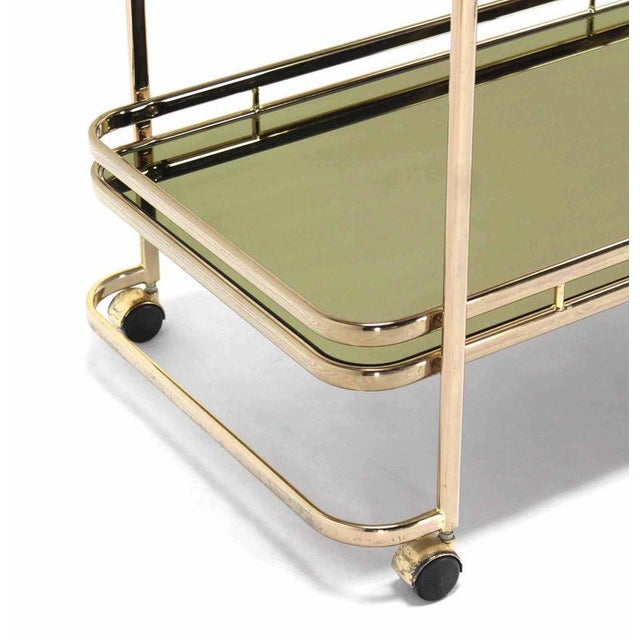 Smoked Glass Gold or Brass Finish Tea or Bar Italian Cart For Sale In New York - Image 6 of 8