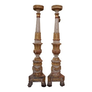 17th Century Italian Altar Candlesticks Pair For Sale
