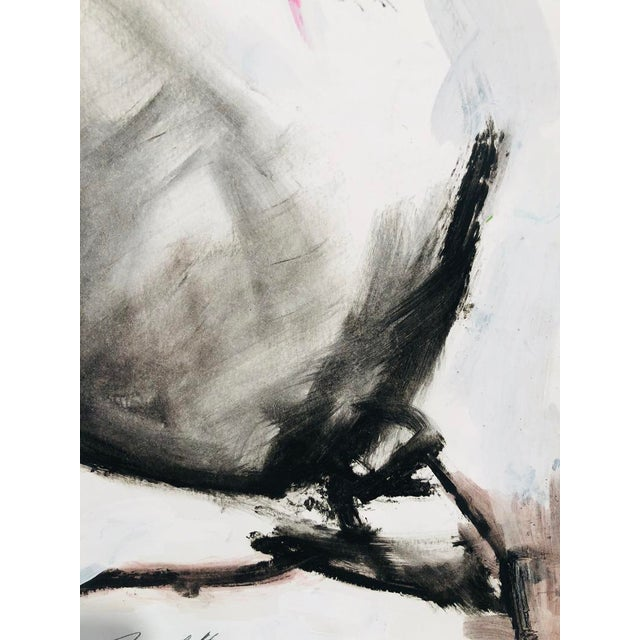 Abstract Contemporary Abstract Nude Figure Gestural Mixed Media Painting on Paper For Sale - Image 3 of 4