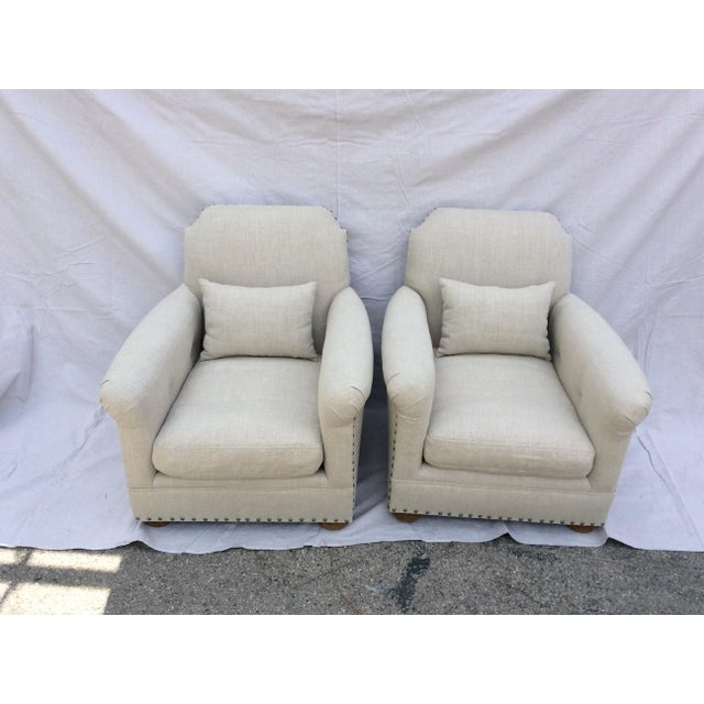 Tan Restoration Hardware Club Chairs - a Pair For Sale - Image 8 of 8