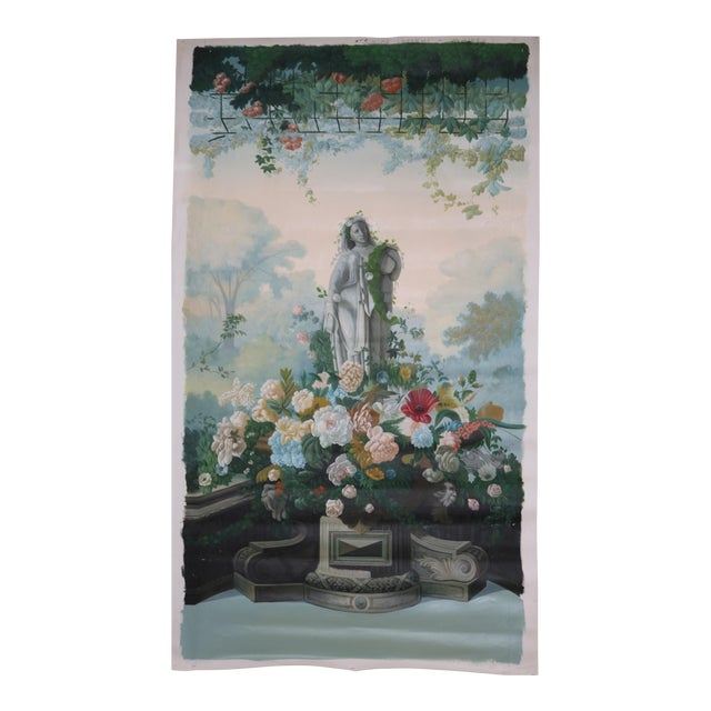 "Vintage ""Statue and Floral Trellis"" Oil on Canvas Painting For Sale"