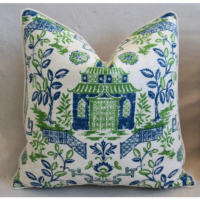 "Early 21st Century Chinoiserie Blue, Green & White Pagoda Linen & Velvet Pillow 26"" Square For Sale - Image 5 of 6"