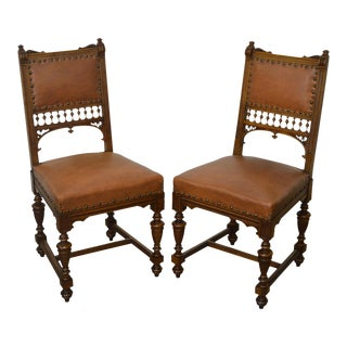 Edwardian Period Pair of Antique Walnut Spindle Back Side Chairs