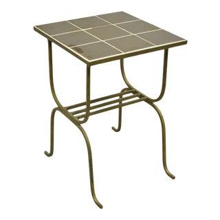 Antique Art Nouveau Gold Ceramic Tile Top Wrought Iron Accent Side Table For Sale