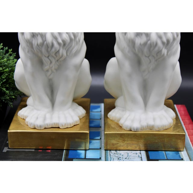 Mottahedeh Italian Mottahedeh Ceramic Mantle Lions - a Pair For Sale - Image 4 of 13
