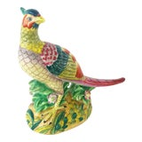 Image of Vintage Chinoiserie Style Pink & Green Peacock Bird Figure For Sale