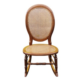 Vintage Cane Sewing Rocking Chair Children's Chair For Sale