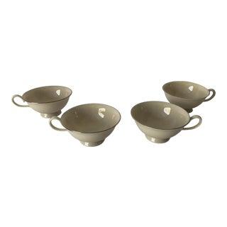 Vintage Elegance by West Bend Ivory & Platinum Trim Set of 4 Tea Cups For Sale