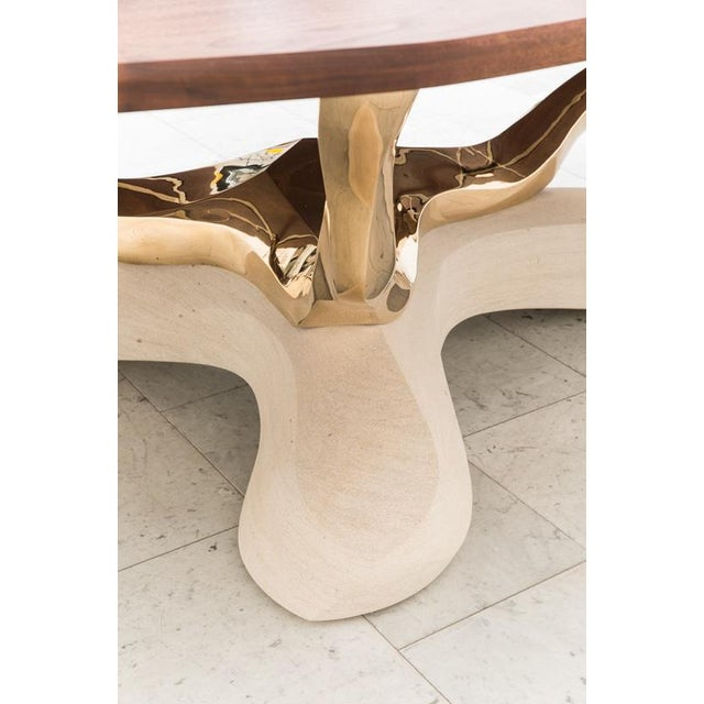 Markus Haase, Bronze, Walnut, and Limestone Dining Table, Usa, 2018 For Sale - Image 11 of 13