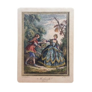 18th Century Original Engraving Print by Famed Francois Boucher For Sale